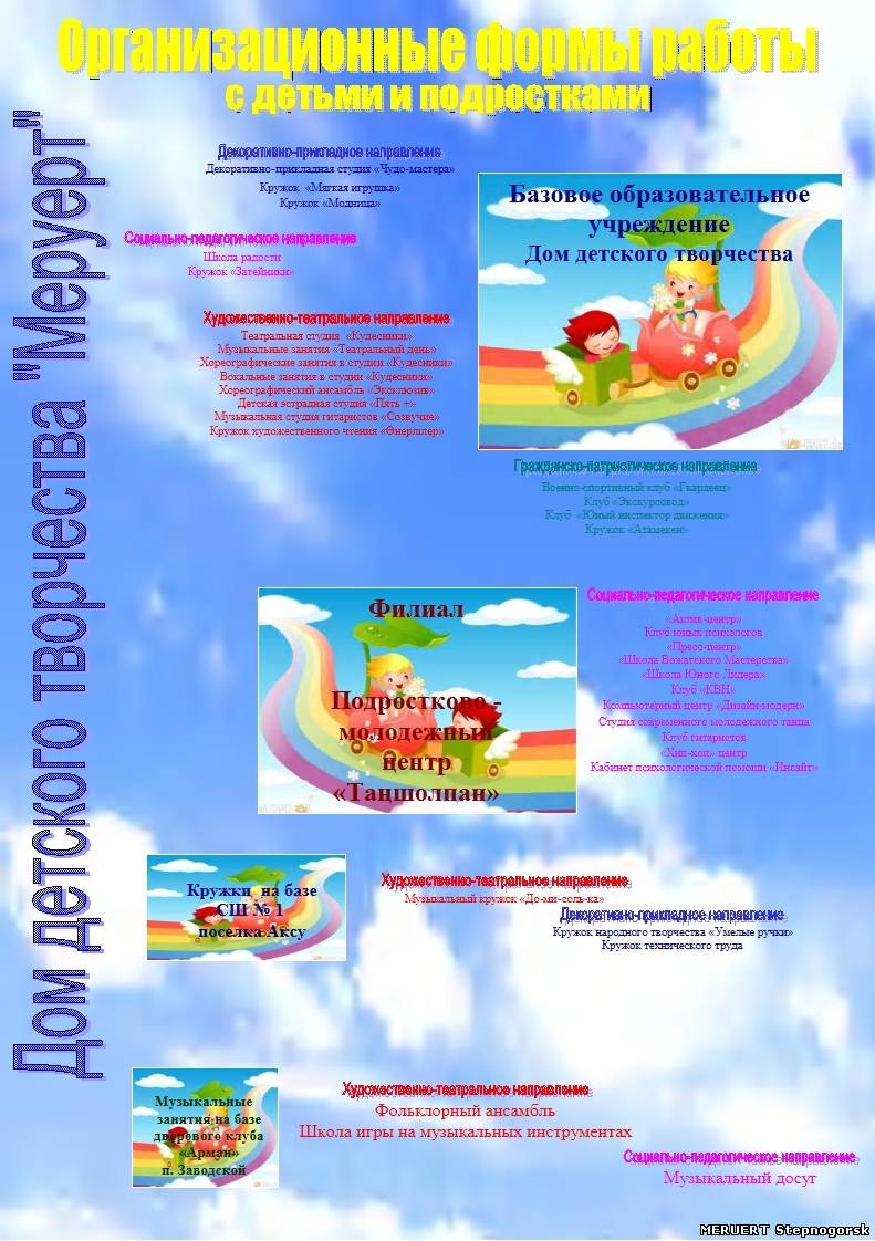 Организационные формы работы с детьми и подростками - Дом детского творчества «Меруерт»